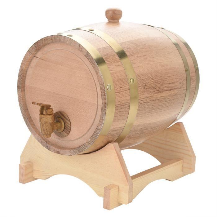 COCO Tonneau à vin en bois de chêne vintage de 5 litres pour porto au rhum Beer