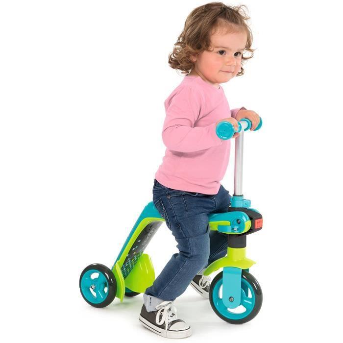 Smoby - Patinette Réversible 2 en 1 - Porteur Enfant et Trottinette - TrAnsformation Rapide - Roues Silencieuses - Bleu 750605