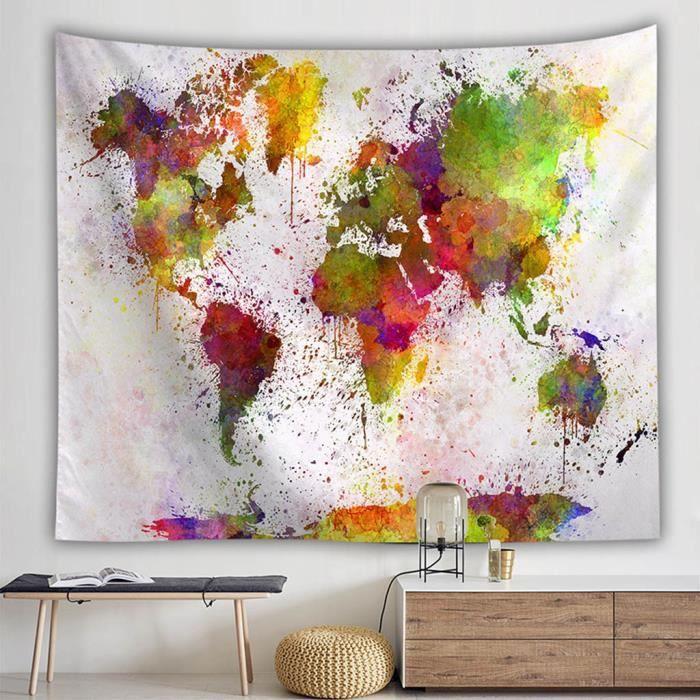 Vintage carte du monde tapisseries murales suspendus Hippie tapisserie couvre-lit tapis de Yoga nouveau tout1792