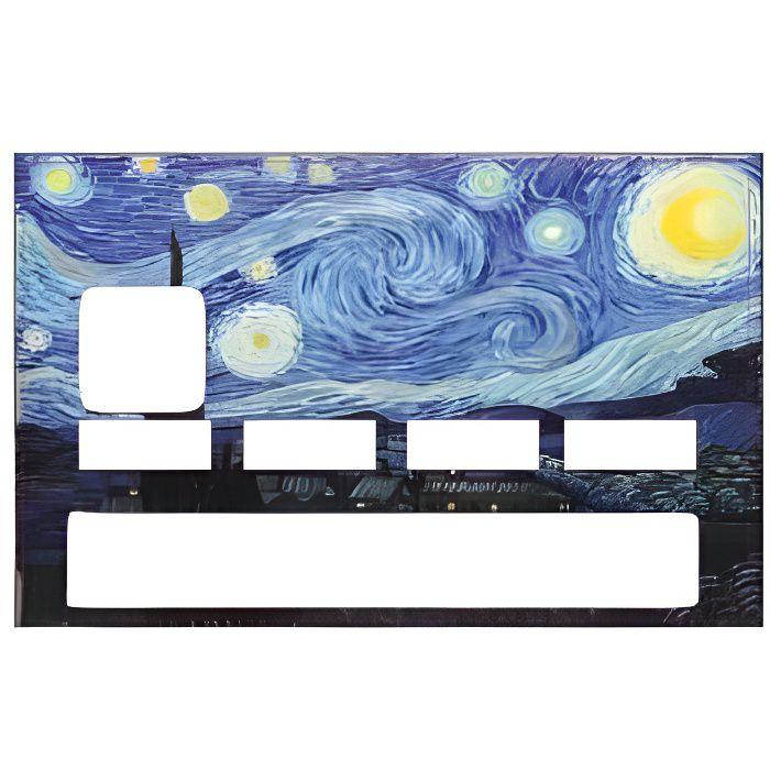 Autocollant La nuit étoilée Vincent Van Gogh numéro 13 carte bleue carte bancaire CB adhésif sticker