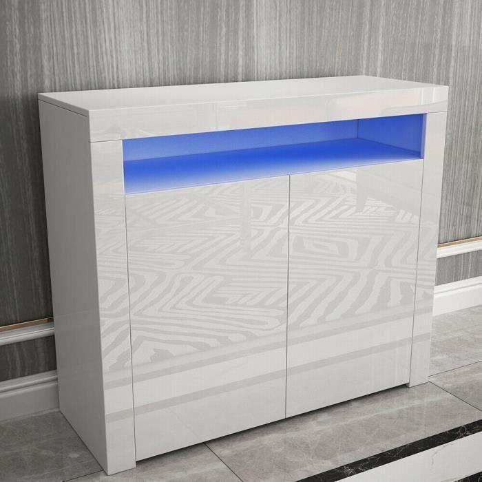 Buffet bas contemporain blanc laqué brillant 100 cm
