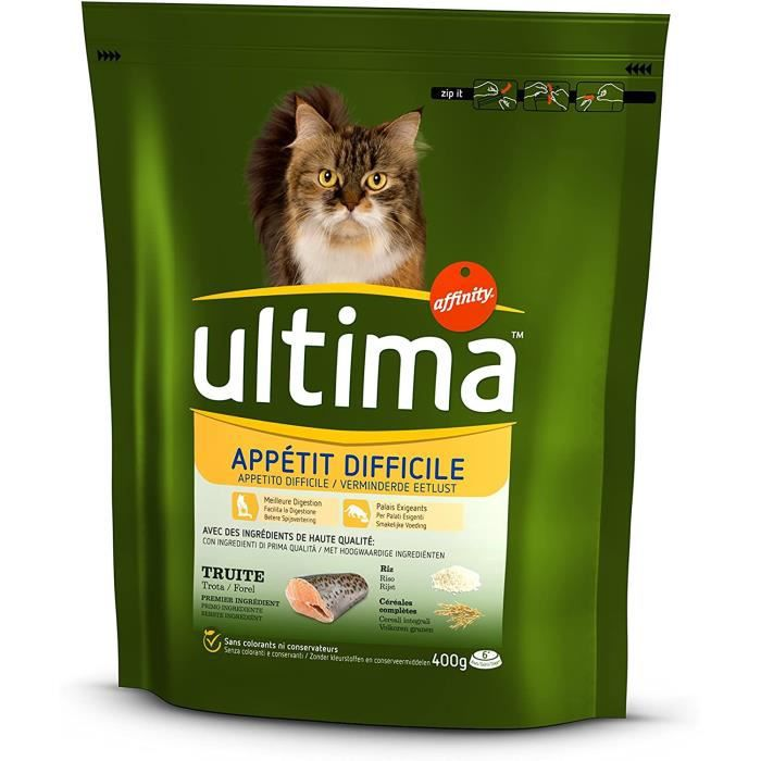 Nourriture pour chats ultima Appétit Difficile pour Chat 400 g - Pack de 8 38885