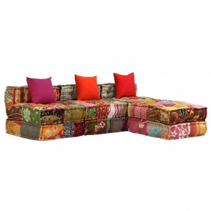 Canapé 3 places modulable + coussins en tissu patchwork multicolore L.180CM CS2449831