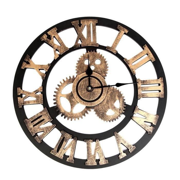 Horloge,Horloge Horloge Vintage en bois de Style industriel, engrenages européens, Steampunk, Horloge murale - Type B - S