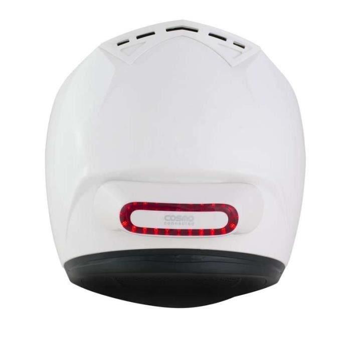 Feu LED Arrière Avertissement Clignotant COSMO MOTO de Cosmo Connected (pour casque moto) - Blanc brillant