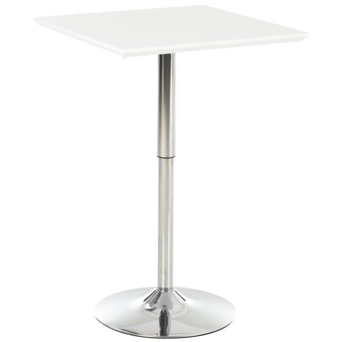 Table de bar table bistro chic style contemporain table carrée hauteur réglable dim. 60L x 60l x 71-92H cm métal chromé MDF blanc