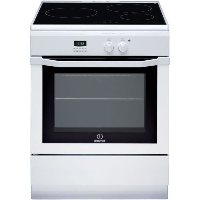 INDESIT IC63I6C6A (W) /FR - Cuisinière table induction - 3 zones - Four électrique - Catalyse - 59 L - A - L 60 x H 85 cm - Blanc