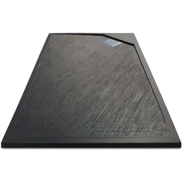 MITOLA Receveur de douche rectangulaire à poser Oasis - 100 x 80 cm - Résine composite - Gris anthracite