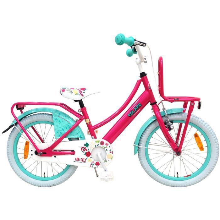 Vélo Enfant Fille 18 Pouces Ibiza Frein Avant sur Le Guidon et Le Frein Arrière à Rétropédalage Rose Bleu 95% Assemblé