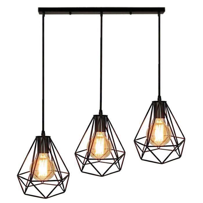 Lampes de Plafond Lustre Abat-Jour Suspension Cage en Fer forme Diamant avec Douille Eclairage Style Industrielle (sans ampoule)