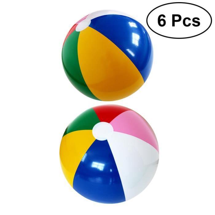 6 pièces balles de plage été arc-en-ciel couleur gonflable bord de mer fête boule d'eau pour enfants BALLE DE TENNIS DE TABLE