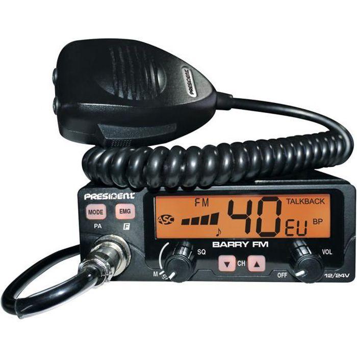 President Radio CB Barry ASC AM/FM 12V/ 24V avec Code de Silencieux Automatique TXPE002