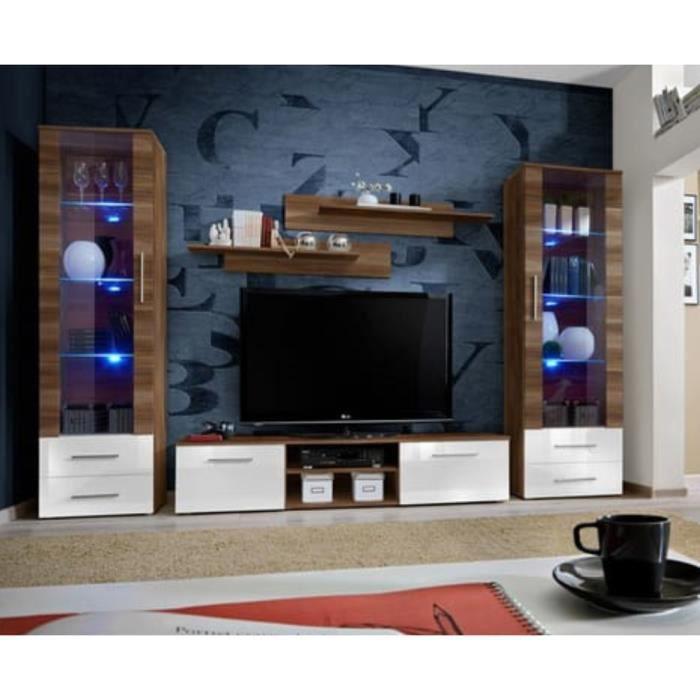 Meuble TV GALINO C design, coloris prunier et blanc brillant. Meuble moderne et tendance pour votre salon. 30 Blanc