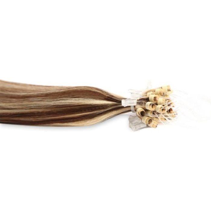Extensions à froid Cheveux Easy Loops 100 mèches 0,8gr Méché Châtain et Blond Platine 50cm