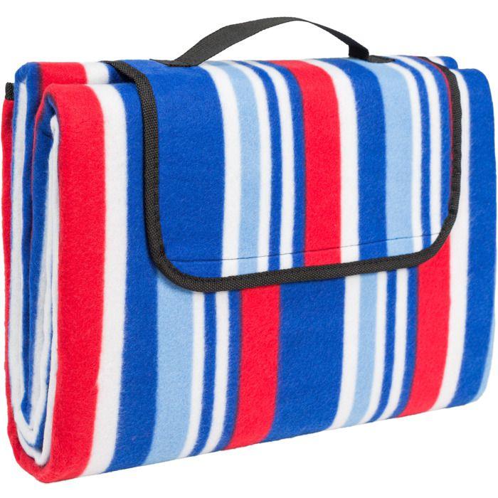 TECTAKE Couverture de Pique-Nique 200 cm x 150 cm Imperméable Bleu Blanc Rouge, Plaid, Tapis de Sol, Tapis de Voyage 100% Polyester