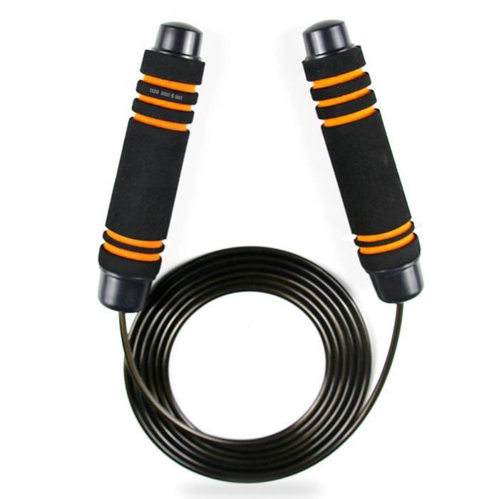 TD® Corde à Sauter Noire Orange - Facilement réglable 3 m- Poignée Souple et Câble Ajustable pour Fitness,Boxe,Crossfit,Gym