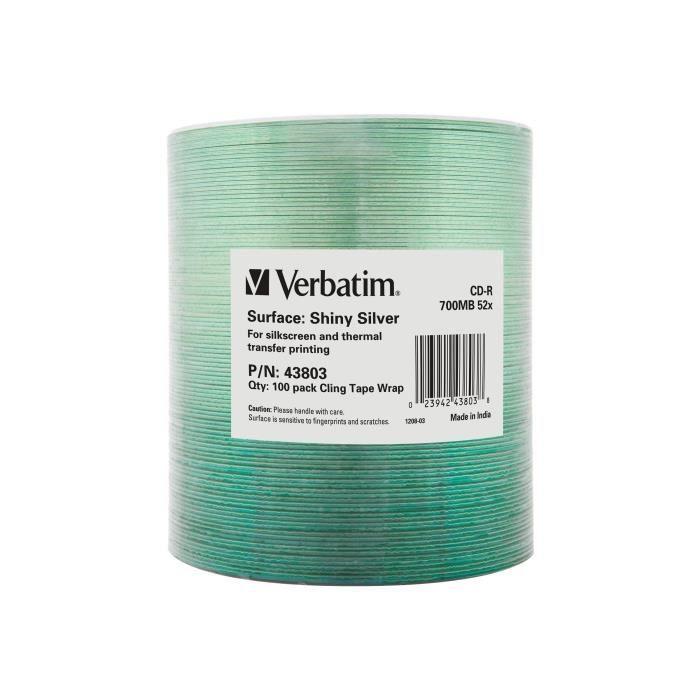 Verbatim DataLife Extra Protection 100 x CD-R 700 Mo ( 80 min ) 52x argent brillant Brique