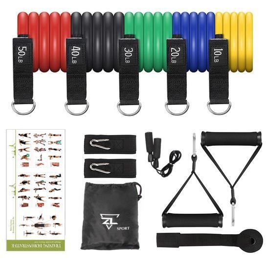 Elastique de Sport 5 niveaux (jusque 150lb) Kit de Sport avec Bandes de Résistance et ses accessoires + CORDE A SAUTER OFFERTE