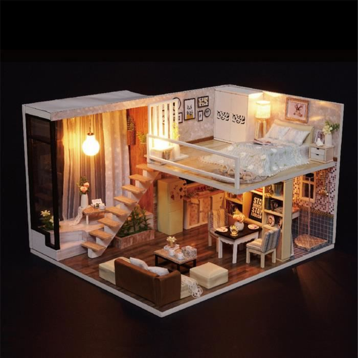 LOL surprise en Bois Maison De Poupées Villa meubles À faire soi-même miniature modèle lumière DEL 3D
