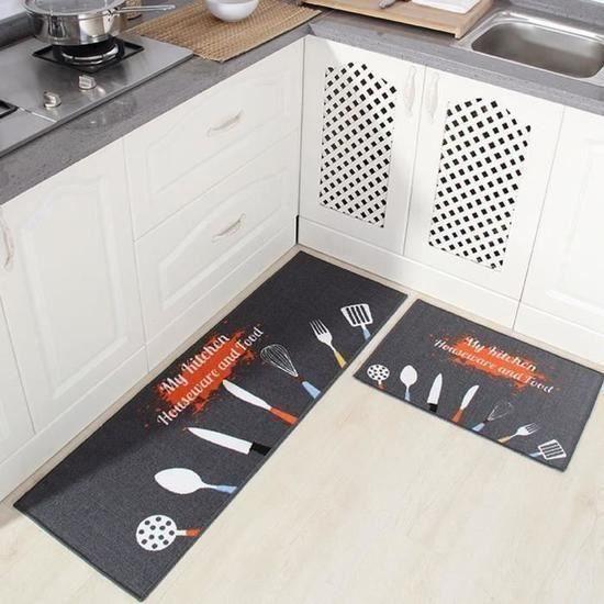 Tapis de Cuisine Devant Evier - 2 Pièces Tapis Cuisine Antidérapant  Absorbent Lavable en Machine 40 * 60+40 * 120cm