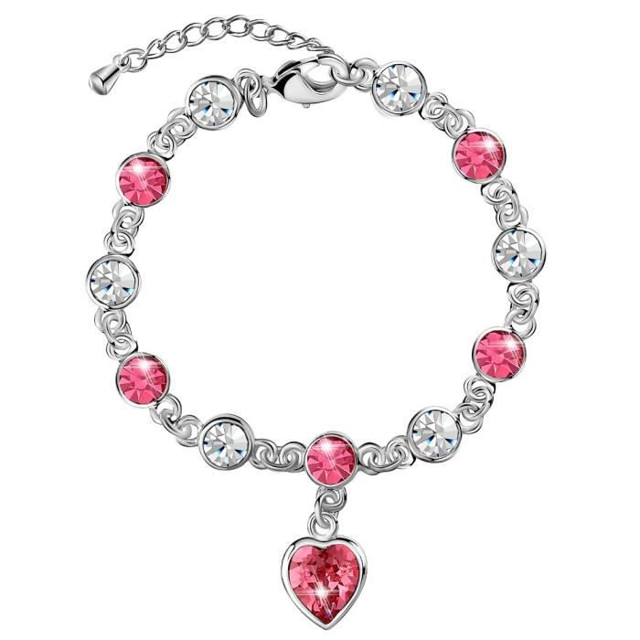 Womens Heart Shaped Tennis Chain Bracelet Crystals From Swarovski, Mothers Day Gifts, Gift For Her M59VF
