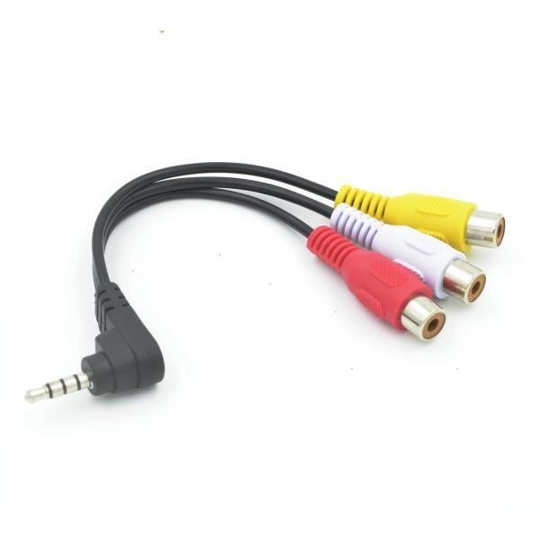 90degree 3 5 mm homme jack pour 3 cordon rca femelle adaptateur audio video converter av cable. Black Bedroom Furniture Sets. Home Design Ideas