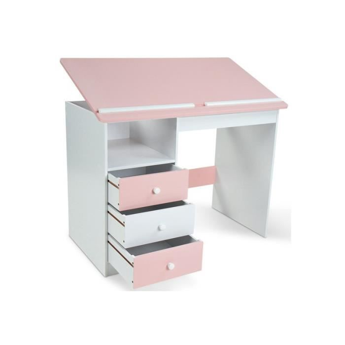 bureau enfant rose et blanc achat vente bureau bureau enfant rose et blanc cdiscount. Black Bedroom Furniture Sets. Home Design Ideas