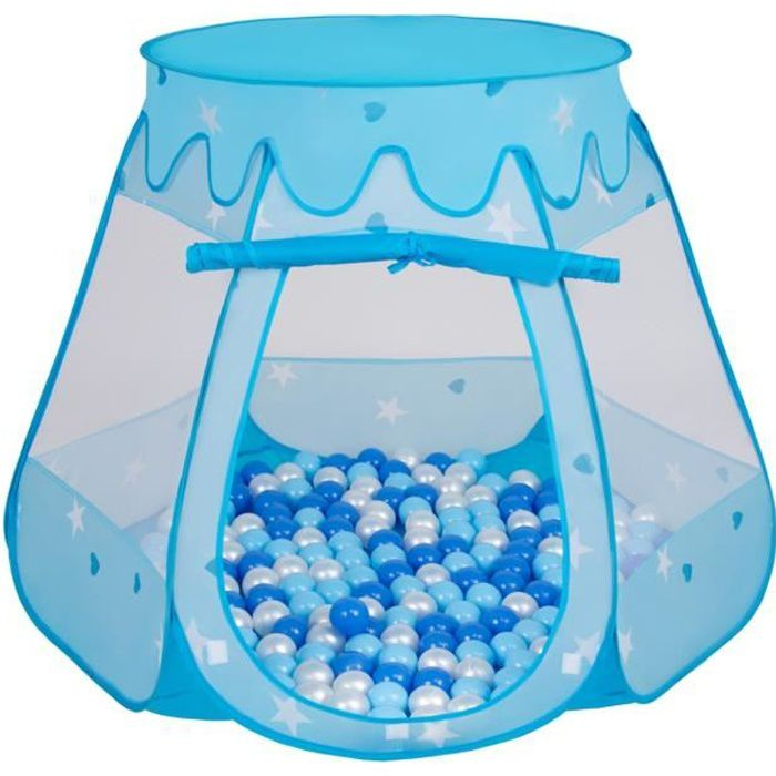 Bleu Selonis Tente 105X90cm//100 Balles Ch/âteau Avec Les Balles Plastiques Piscine /À Balles Pour Enfants Blanc-Jaune-Orange-Babyblue-Turquoise
