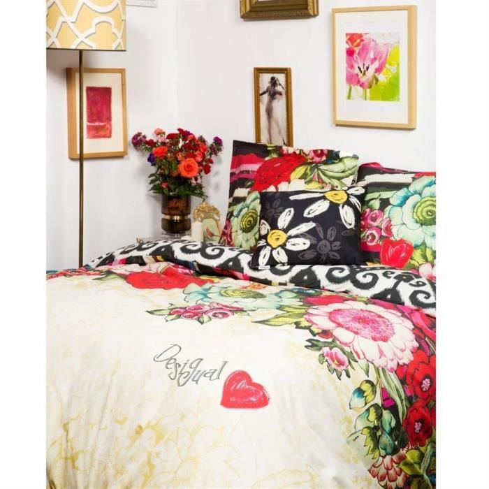 linge de lit desigual 57dl5f4 parure de lit lovely garden 240x220cm achat vente parure de. Black Bedroom Furniture Sets. Home Design Ideas