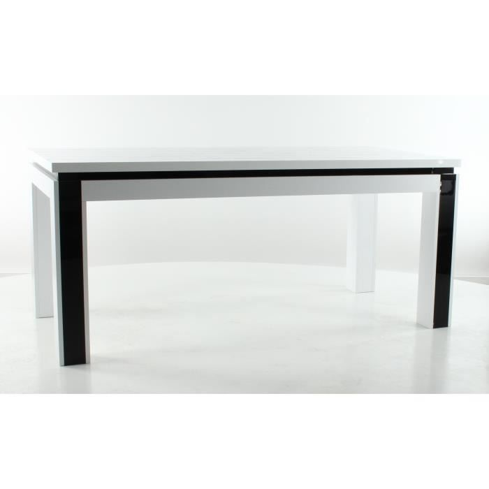 Table salle a manger equinoxe laqu e blanche achat vente table a manger s - Table a manger blanche laquee ...