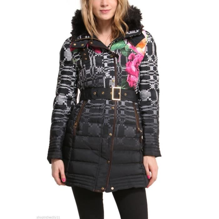 manteau desigual femme modele amapola noir achat vente doudoune soldes d t cdiscount. Black Bedroom Furniture Sets. Home Design Ideas
