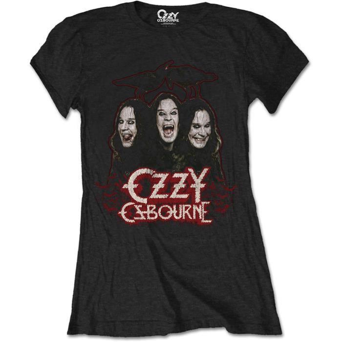 T-SHIRT Ladies Ozzy Osbourne Crows Black Sabbath Rock Auto