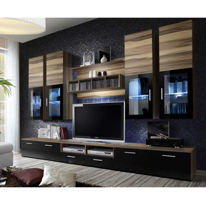 Paris Prix Meuble Tv Mural Design Lyra 300cm Noyer Noir Marron