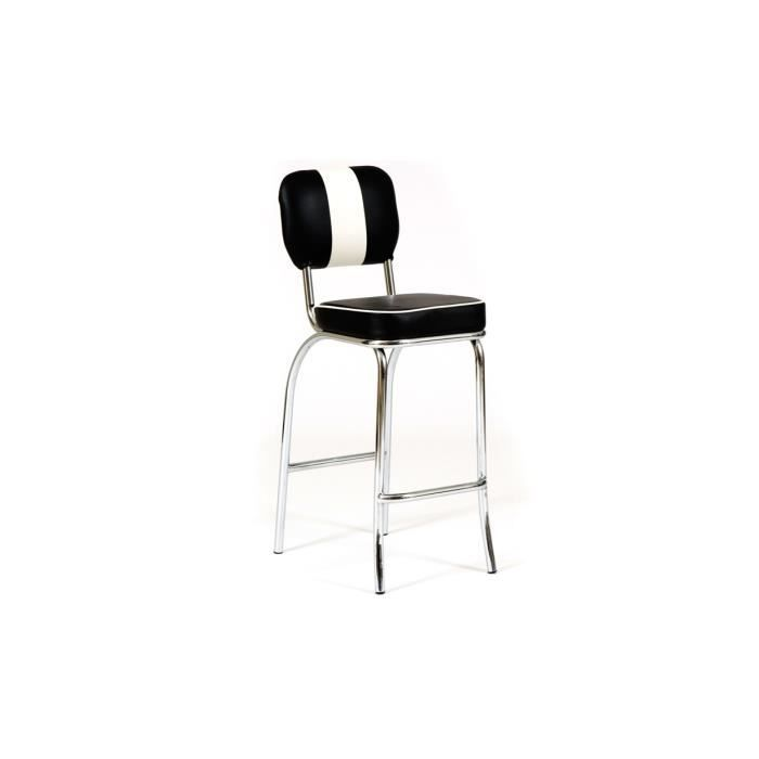 Chaise de bar noir blanc richie for Chaise noir blanc