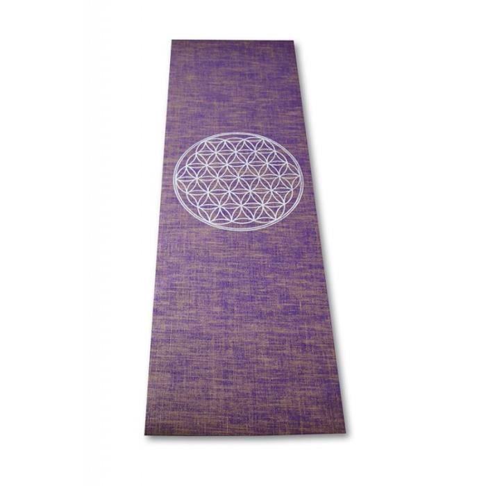 TAPIS DE SOL FITNESS Tapis de Yoga Fleur de Vie à base de jute Violet
