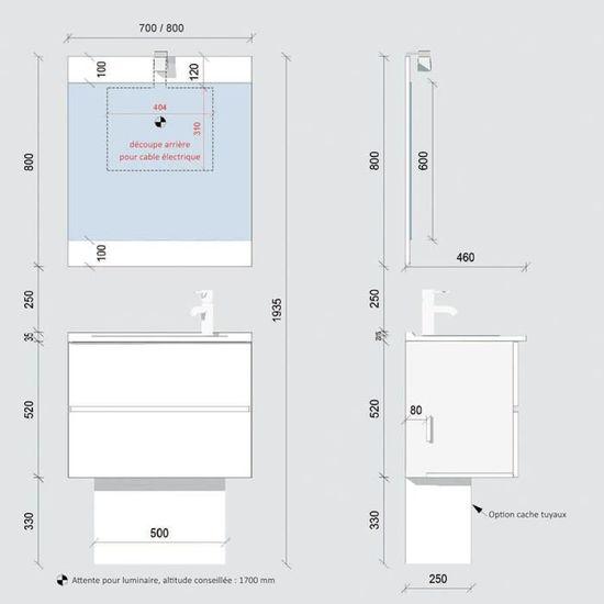 Meuble Salle De Bain Simple Vasque Rosaly 70 Blanc Brillant 70 Profondeur 46 Achat Vente Meuble Vasque Plan Meuble Salle De Bain Simple Cdiscount