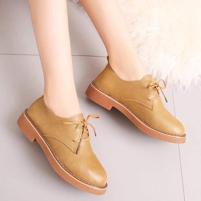 Chaussures pour dames Mode cheville plat chaussures en cuir pour Casual Bottes femme court_Bottes*950