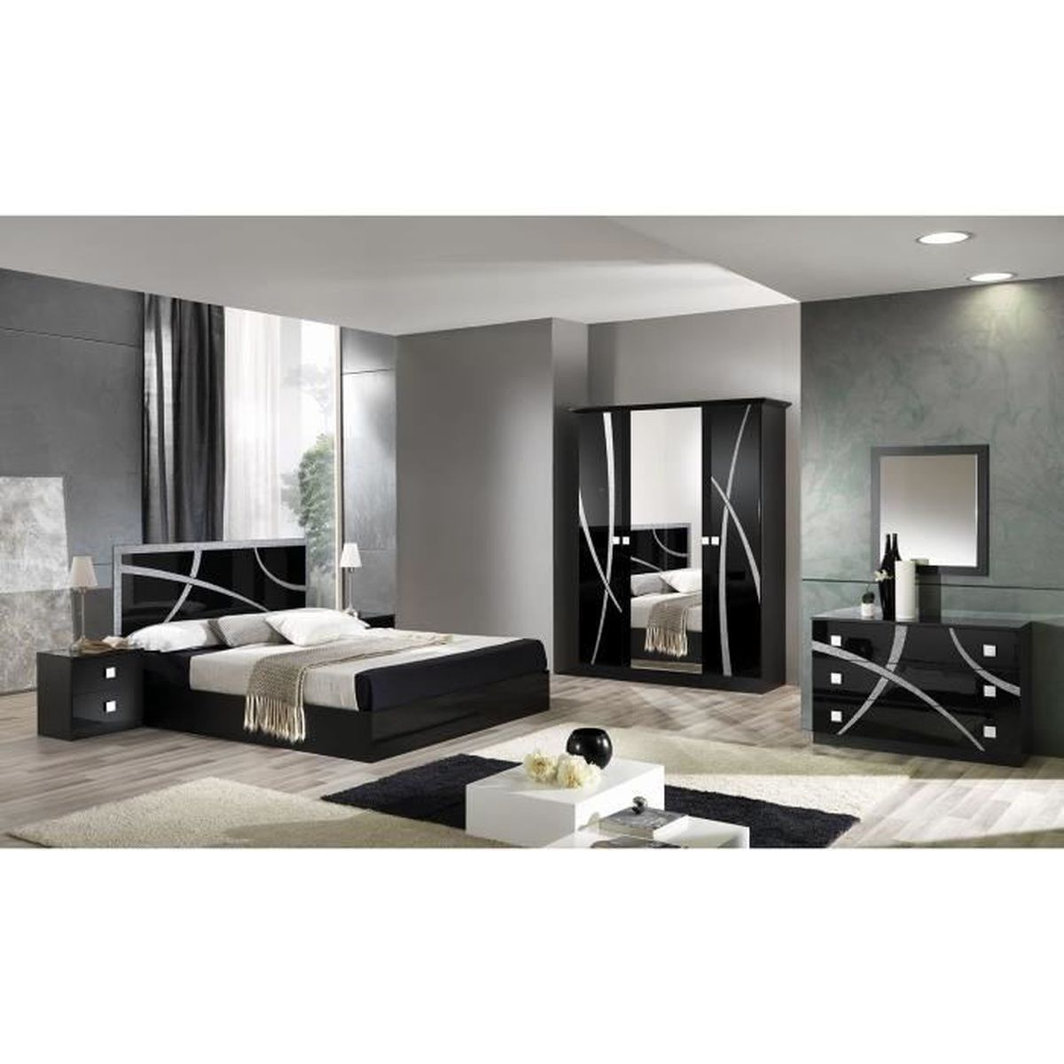 Chambre compl te adulte 160x200 achat vente chambre for Chambres adultes completes design