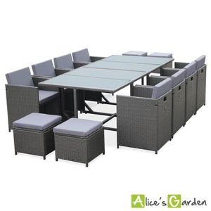 Ensemble table et chaise de jardin Salon de jardin Cubo Gris table en résine tressée