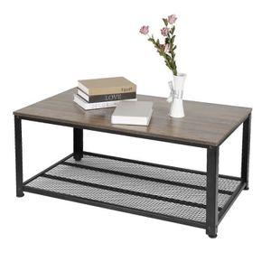 COSTWAY Table Basse Table Salon R/étro Vintage en M/étal et MDF Style Industrielle Surface Imperm/éable avec /Étag/ère de Rangement 105x50x41,5 CM
