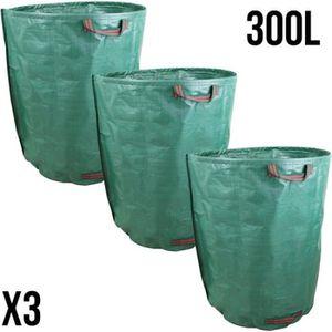 SAC À DÉCHETS VERTS  Lot de 3 sacs de déchets 300L en PP 150g-m² autopo