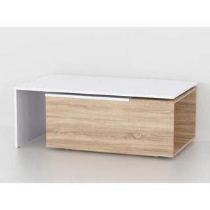 TABLE BASSE Table basse aspect  chêne sonoma  et blanc