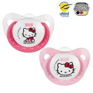 SUCETTE NUK 2 Sucettes Silicone Trendline T3 Hello Kitty