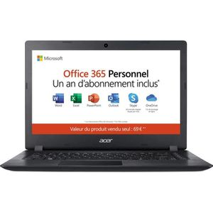 "Vente PC Portable ACER PC Portable Aspire 1 A114-31-14"" HD-Intel Celeron N3350-RAM 4Go-Stockage 64Go eMMC-Intel® Celeron® N3350-Win10+Office 365 Perso pas cher"
