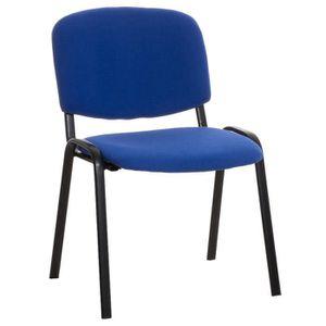 CHAISE Chaise de visiteur empilable en tissu bleu - 83 x