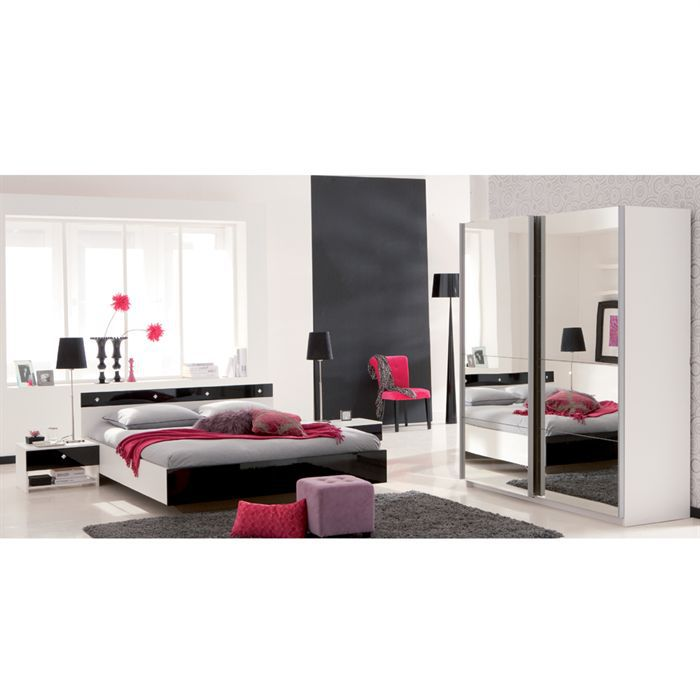 strass lit 140x190 blanc noir achat vente ensemble. Black Bedroom Furniture Sets. Home Design Ideas