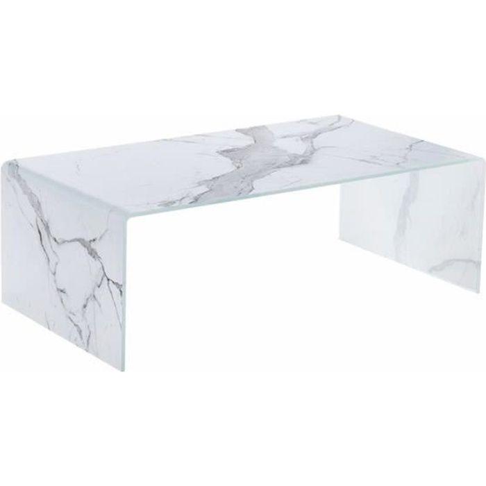 Table basse MORA Blanc - plateau Verre pieds Verre 110 x 60
