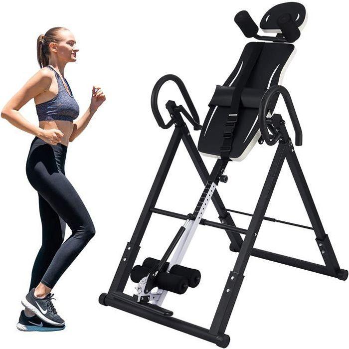 Table d'Inversion Pliable pour Entraînement du Dos, Planche Inversion Musculation de Gravité, Machine Inversée pour Entraîner Noir e