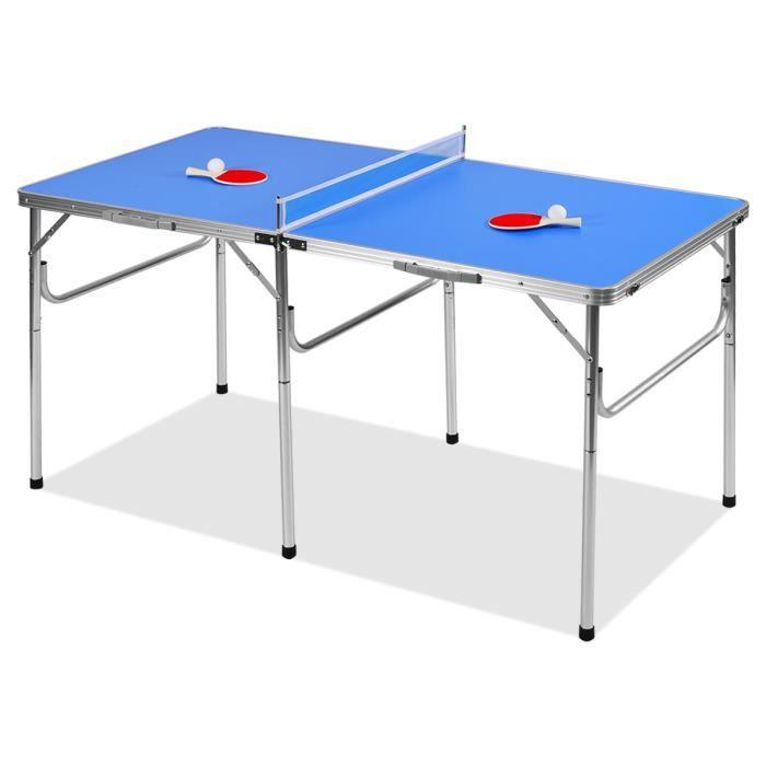 DREAMADE Table de ping-pong pliable, résistant à la corrosion et armature en aluminium, pas besoin d'installation