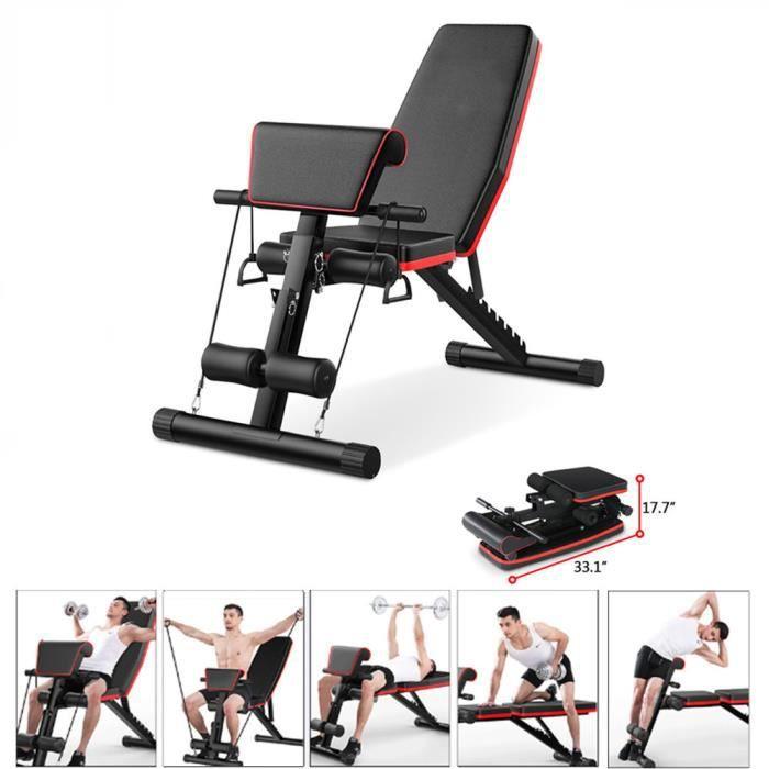 Banc de poids de remise en forme réglable robuste pliable plat / inclinaison / déclin haltère de gymnastique à domicile